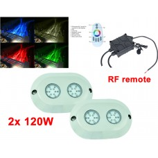 "2x 5.5"" 120W Round LED underwater light -RGB + RF remote"