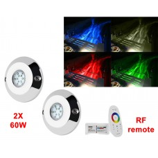 "2x 4"" 60W Round LED underwater light -RGB + RF remote"
